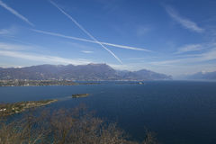 Garda lake from Rocca of Manerba. In a sunny day of may Royalty Free Stock Photos