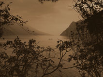 Garda lake sepia Royalty Free Stock Photography
