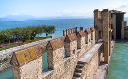 Garda lake Fortification in Sirmione Stock Photo