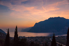 Garda lake sunset Stock Images