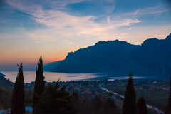 Garda lake sunset Royalty Free Stock Photography