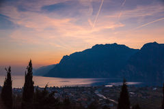 Garda lake sunset Stock Image