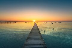 Garda lake, swans and jetty, sunset view from Pacengo Lazise. It stock photos