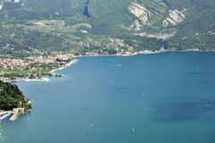 Garda lake Torbole sailing Stock Image