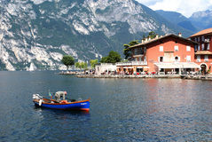 Garda lake view from Torbole, North Italy royalty free stock image