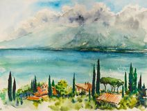 Garda Lake watercolors painted. royalty free stock photography