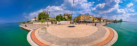 Garda lake waterfront of Lasize panoramic view Royalty Free Stock Photography