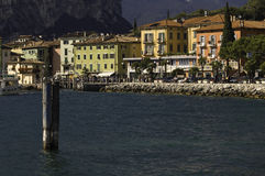 Garda lake waterfront. Waterfront and marina in Torbole, Garda Lake, Italy Stock Image