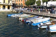 Озеро Garda, самое большое озеро в Италии, порте для шлюпок, Malcesine, Италии стоковые фото