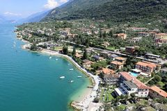 Resort Malcesine on the garda lake stock photo