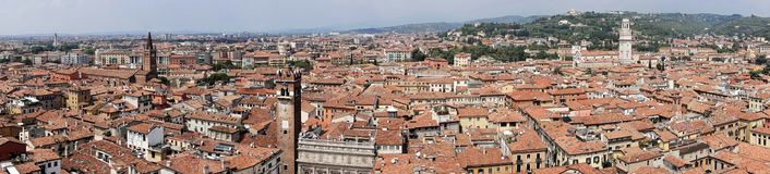 Verona from above in Italy stock images