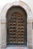 Very old wooden closing door stock image
