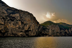 Gardasee Italia. Lake Garda view from the sea to the cliffs Royalty Free Stock Images