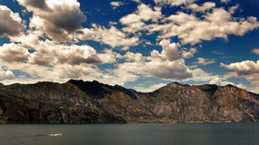 Gardasee Italia. Lake Garda view from the sea to the cliffs Stock Image