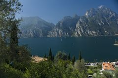 Gardasee. View from ost wall. The biggest lake of the Italy, one of the most popular touristic place Royalty Free Stock Photography