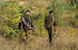 Garde-chasse de chasseurs recherchant l'animal ou l'oiseau L'ami de chasseur apprécient des loisirs dans le domaine Passe-temps p images libres de droits