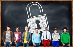 Garde Concept de serrure de sécurité d'identifiez-vous d'intimité de mot de passe photos stock
