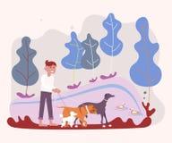 Garde d'enfants de chien appréciant avec des chiens illustration libre de droits
