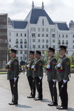 Garde d'honneur - bâtiment du Parlement - Budapest Photographie stock libre de droits