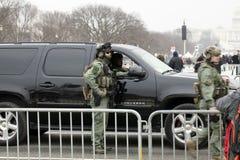 Garde d'opération spéciale en service pendant le Donald Trump Inauguration Images libres de droits
