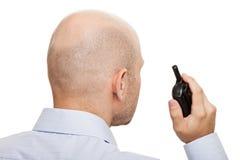 Garde de sécurité avec la radio de talkie-walkie images libres de droits