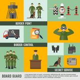 Garde frontière Icon Flat Photos libres de droits