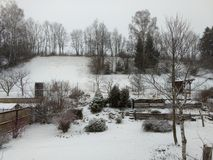 Garde n зимний день с снегом стоковые изображения