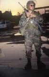 Garde national patrouillant après 1992 des émeutes, Los Angeles centrale du sud, la Californie Photographie stock