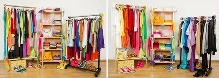 Garde-robe avant que bien disposé aléatoirement et après disposé par des couleurs Photo stock