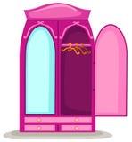 Garde-robe ouverte avec le miroir illustration libre de droits