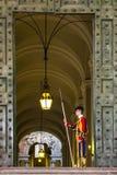 Garde suisse papale non identifiée se tenant à la porte de musée de Vatican Photos libres de droits