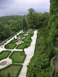 Garden. Beautiful garden in the old castle (Poland royalty free stock image