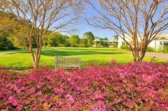 Garden. Beautiful garden landscape with flowers, trees, lawn, gazebo etc Stock Image