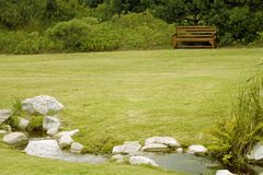 Garden. And small lake by the golg course Stock Image