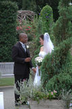 In the Garden. A beautiful scene of a bride and groom in a garden stock photography