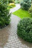 Garden. Stone path with grass growing up between the stones royalty free stock images
