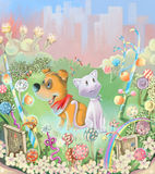 In the garden. Puppy and cat in the magic garden Stock Images