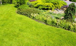 Garden. A wall Garden with cipress and bushes Stock Photo