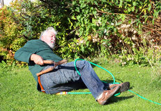 Garden accident. Falling over. Royalty Free Stock Images