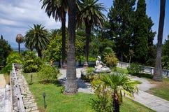 Garden of Achillion palace on Corfu, Greece Stock Photo