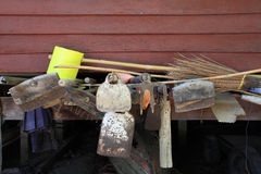 Garden or agriculture tools. Keeping on wooden house Stock Images