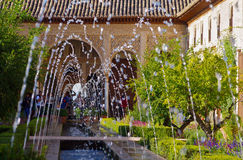 Garden of alhambra. With fountain, granada,spain Stock Photography