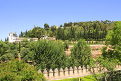 Garden in Alhambra Castle, Spain Royalty Free Stock Photography