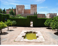 Garden, Alhambra palace. Pool in garden of Alhambra palace royalty free stock photo