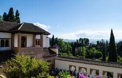 Garden of Alhambra and the Palace of the Generalife October 2016. Tourists viewing the Palace of the Generalife Palacio del Generalife Stock Photos