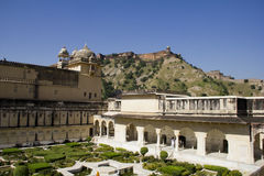 Garden in Amber Fort at Jaipur, India. Amber Fort is located in Amer (a town with an area of 4 square kilometres (1.5 sq mi)[1]), 11 kilometres (6.8 mi) from stock image