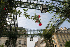 Garden and Apartments in Paris. Garden of Les Halles and apartments in Paris Royalty Free Stock Photos