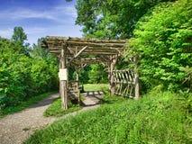 Garden Arbor. Scenic view of garden arbor with benches Royalty Free Stock Photos