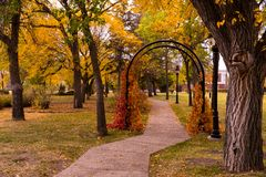 Garden Arch in Autumn. The colors of fall are surrounding this archway in the park in autumn Royalty Free Stock Photos