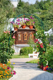 Garden Arch with Flowers - Intercession Convent  in Suzdal Stock Photo